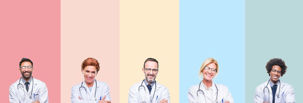 Collage of professional doctors over colorful stripes isolated background happy face smiling with crossed arms looking at the camera. Positive person.