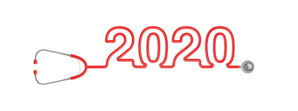 Stethoscope year 2020 / 3D illustration of stethoscope tubing forming year 2020 text medical industry concept